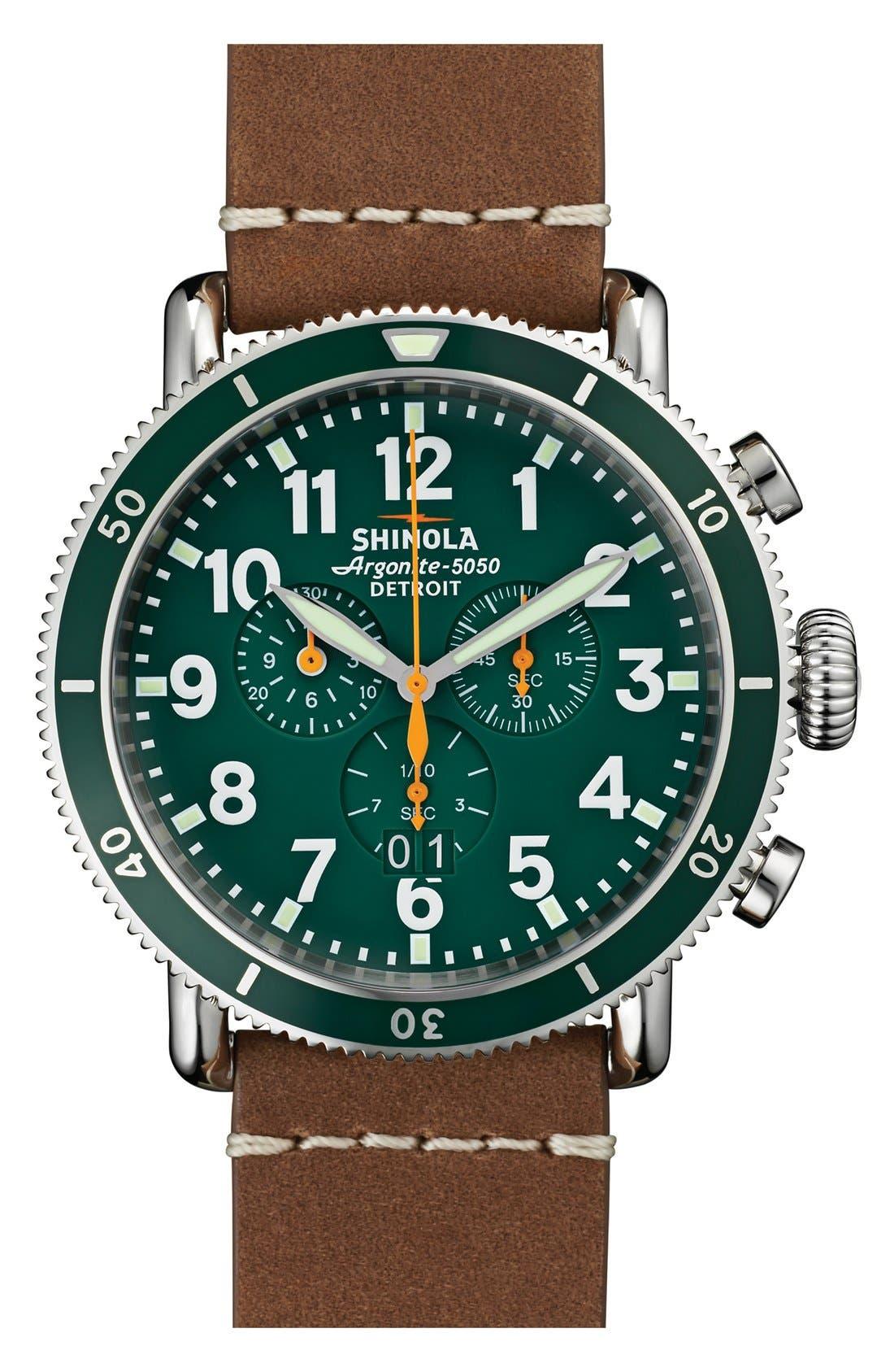 Main Image - Shinola 'The Runwell' Chronograph Leather Strap Watch, 48mm