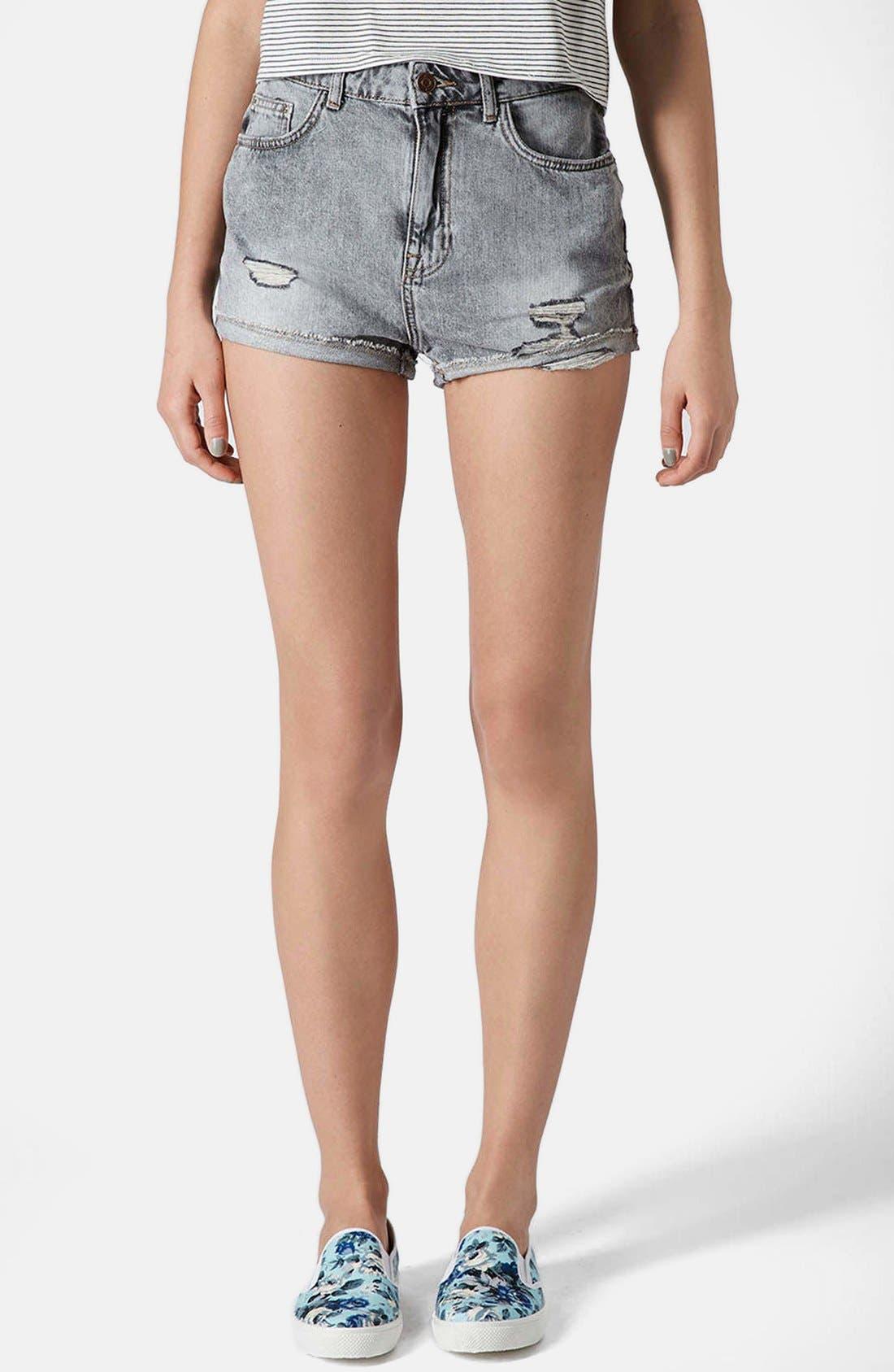 Main Image - Topshop Moto 'Hallie' High Rise Acid Wash Denim Shorts (Black)