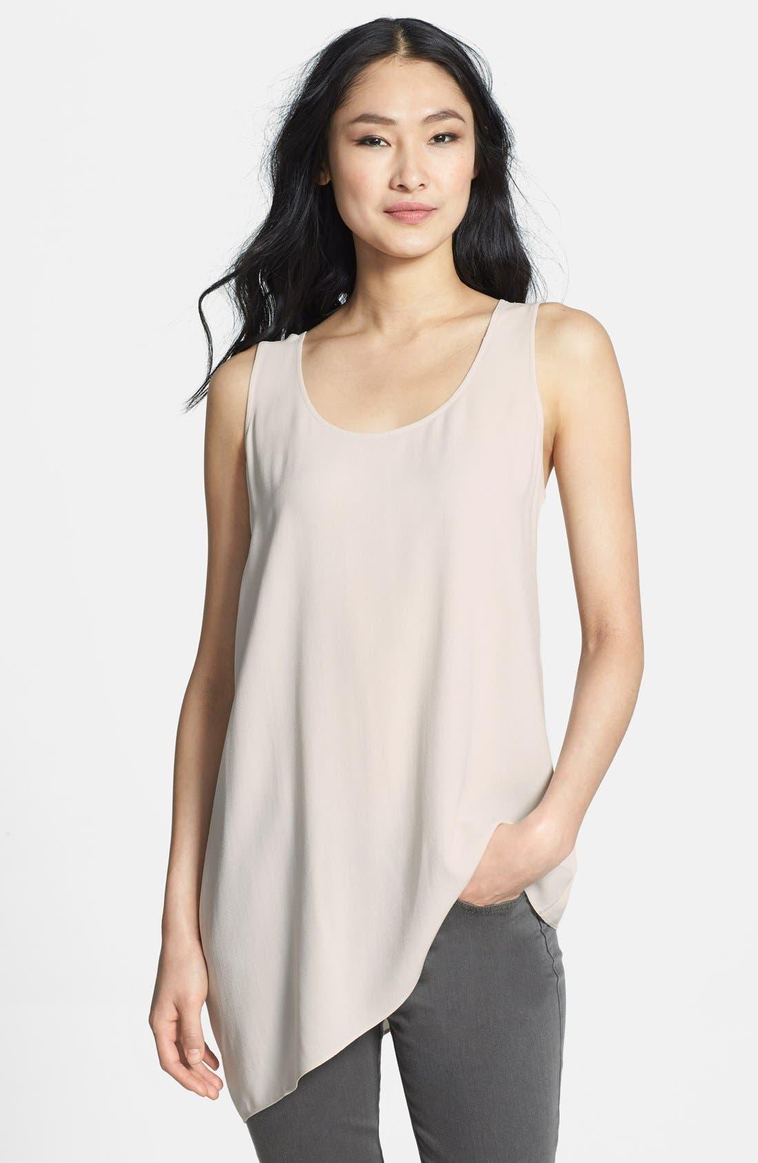 U-Neck Drape Side Silk Shell,                         Main,                         color, Bone
