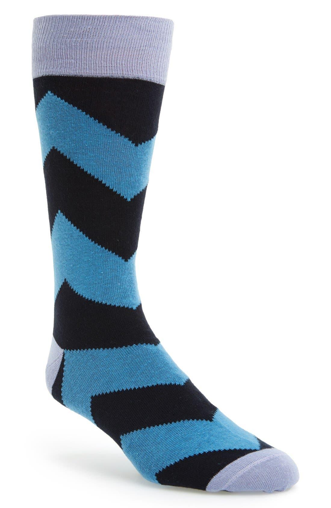 Chevron Stripe Socks,                             Main thumbnail 1, color,                             Blue/ Lavender