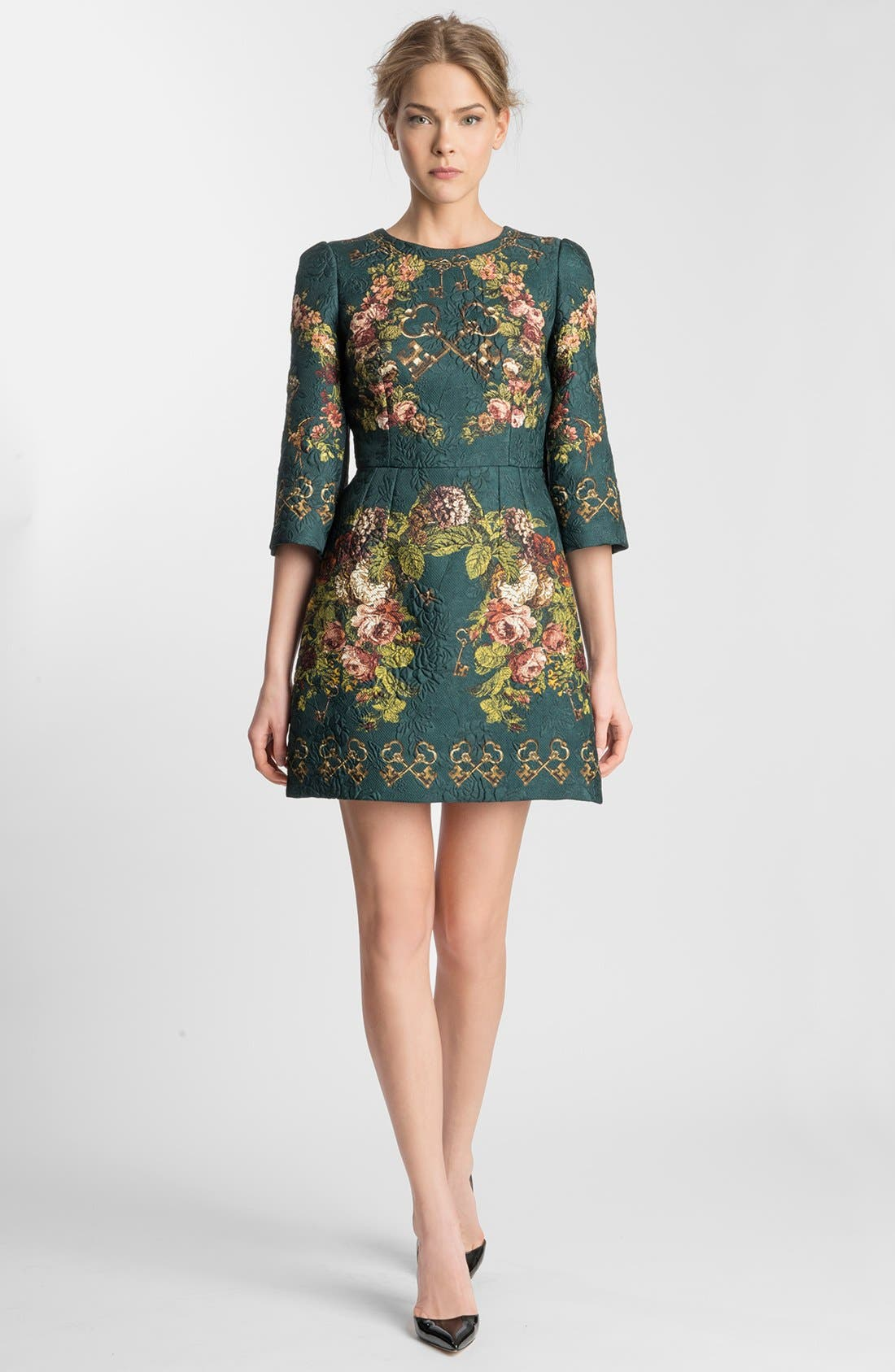 Main Image - Dolce&Gabbana Key Print Floral Brocade Dress