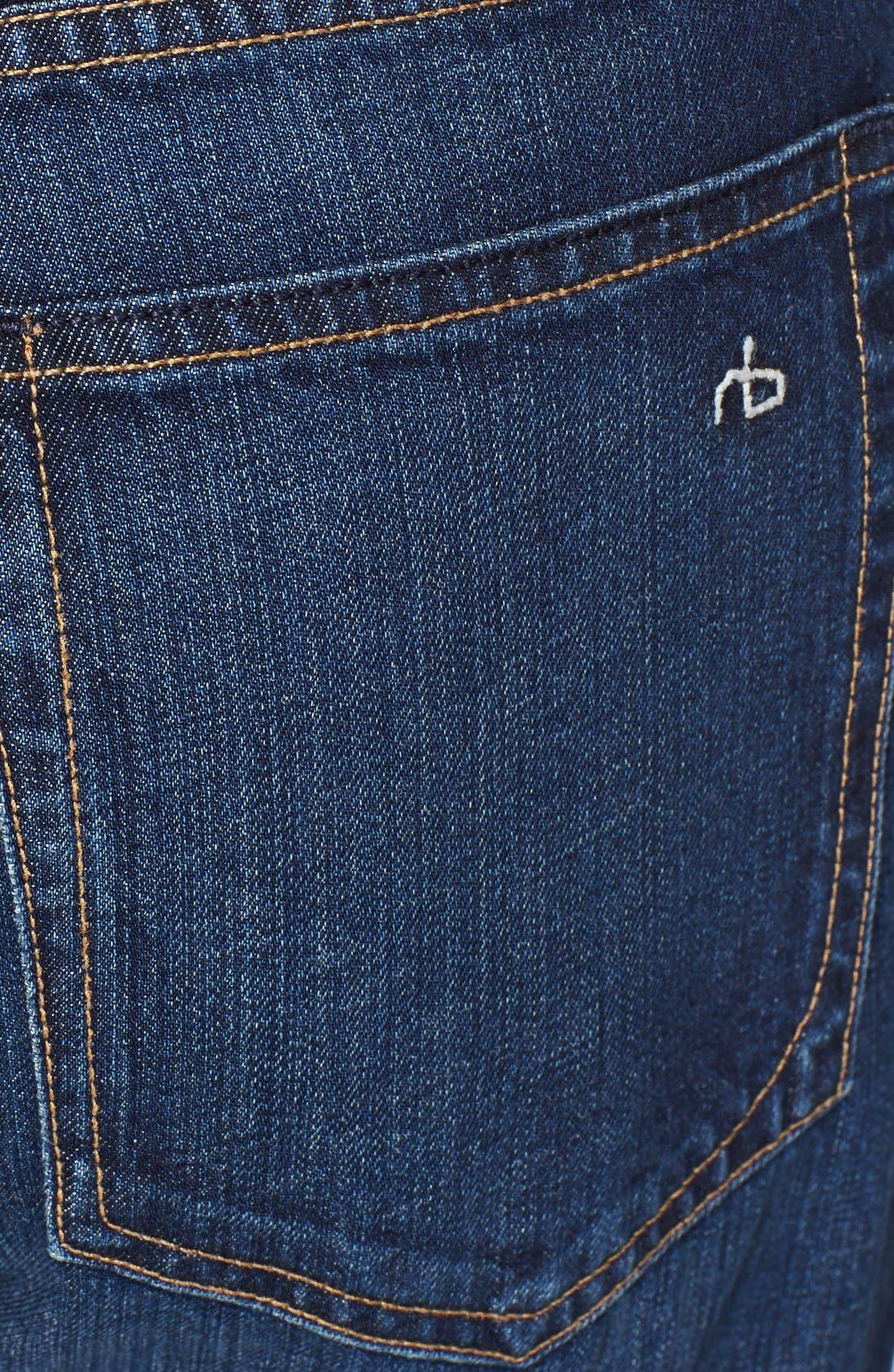Alternate Image 4  - rag & bone 'RB15X' Slim Straight Leg Jeans (Berkely Blue)