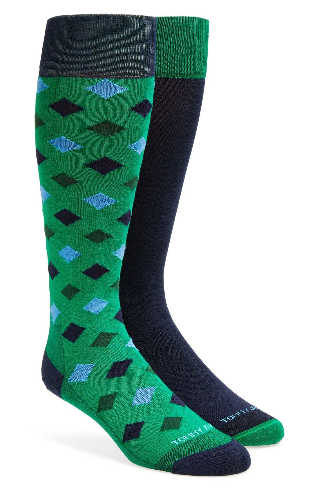 Main Image - Tommy John 'Joe Plaid' InvisiGrip™ Socks (2-Pack)