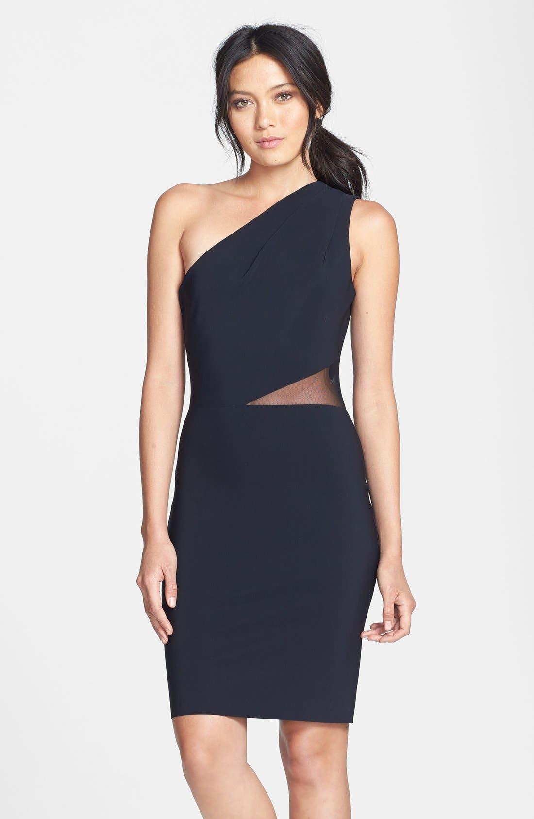 Alternate Image 1 Selected - Halston Heritage Mesh Inset One-Shoulder Sheath Dress