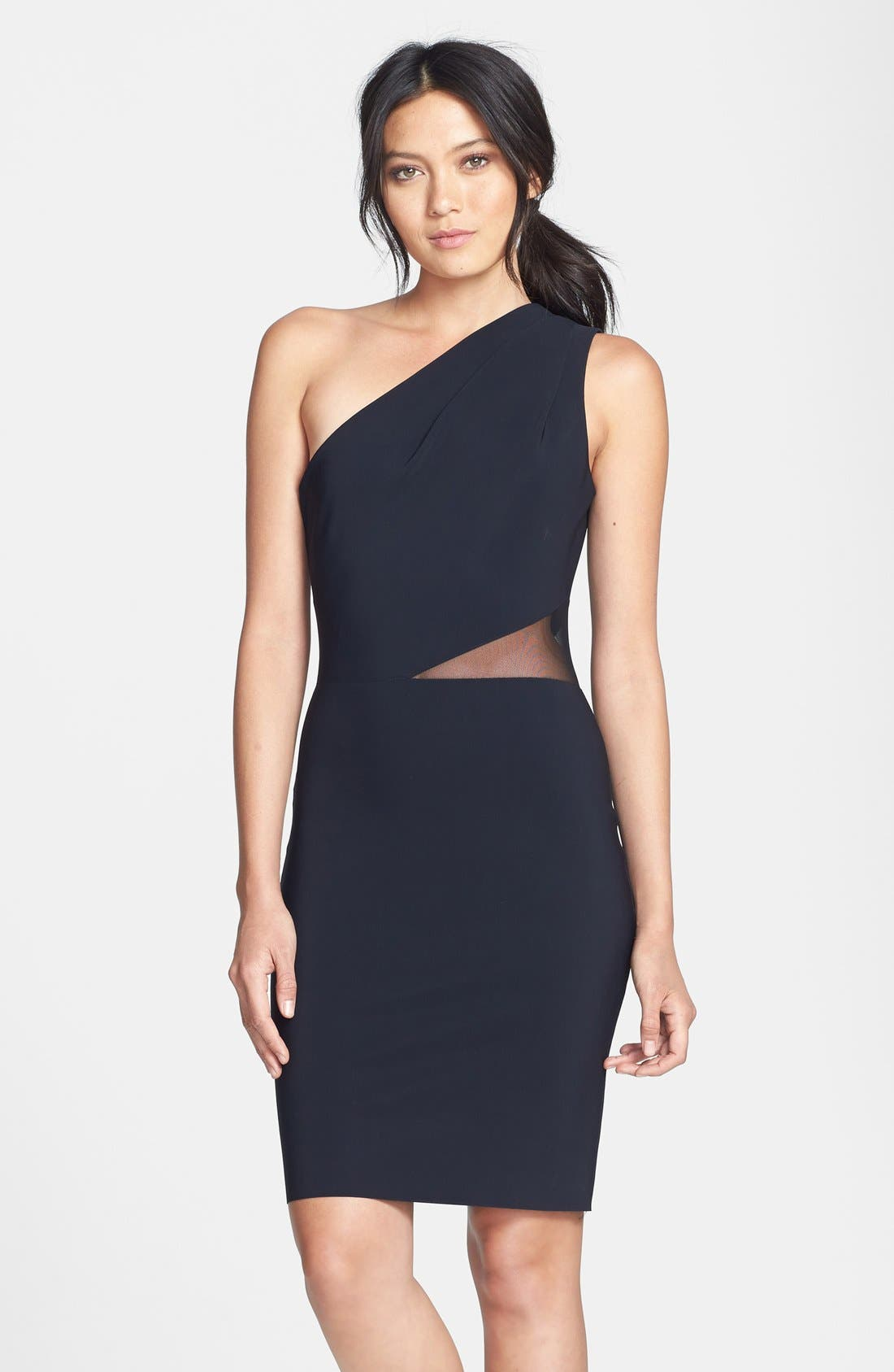 Main Image - Halston Heritage Mesh Inset One-Shoulder Sheath Dress