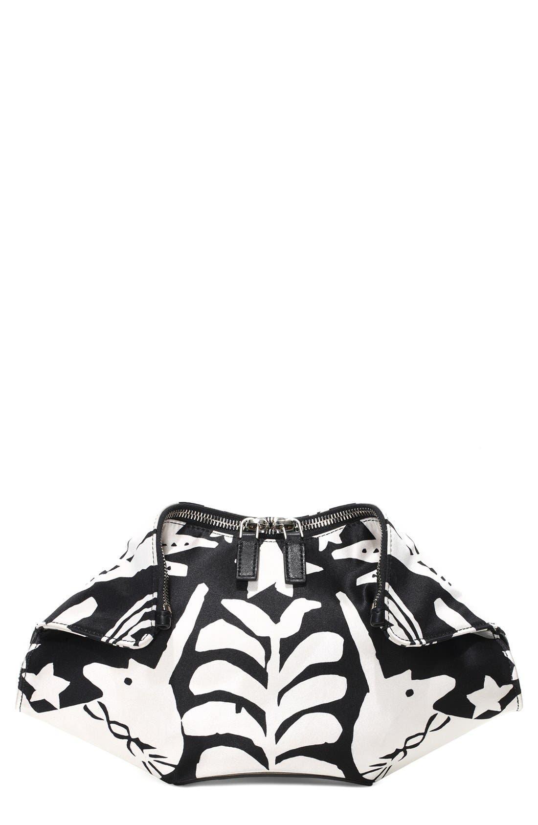 Main Image - Alexander McQueen 'De Manta' Print Silk Clutch