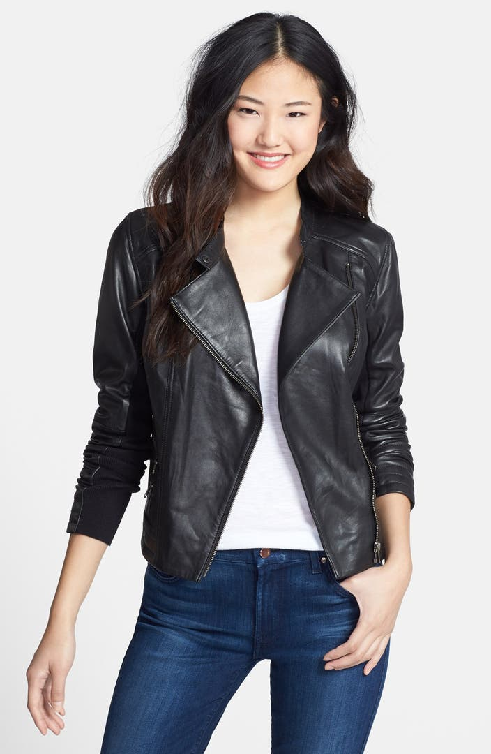 Halogen 174 Zip Detail Leather Moto Jacket Regular Amp Petite