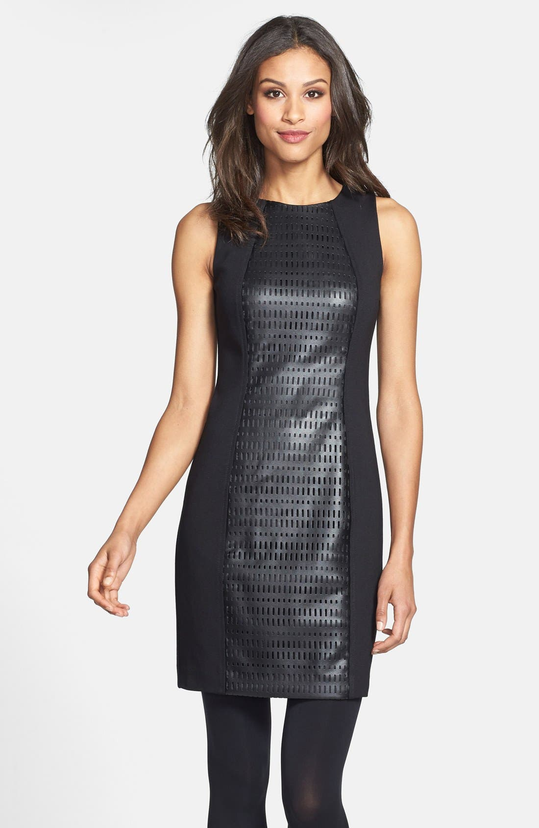 Main Image - Trina Turk Laser Cut Faux Leather & Ponte Sheath Dress