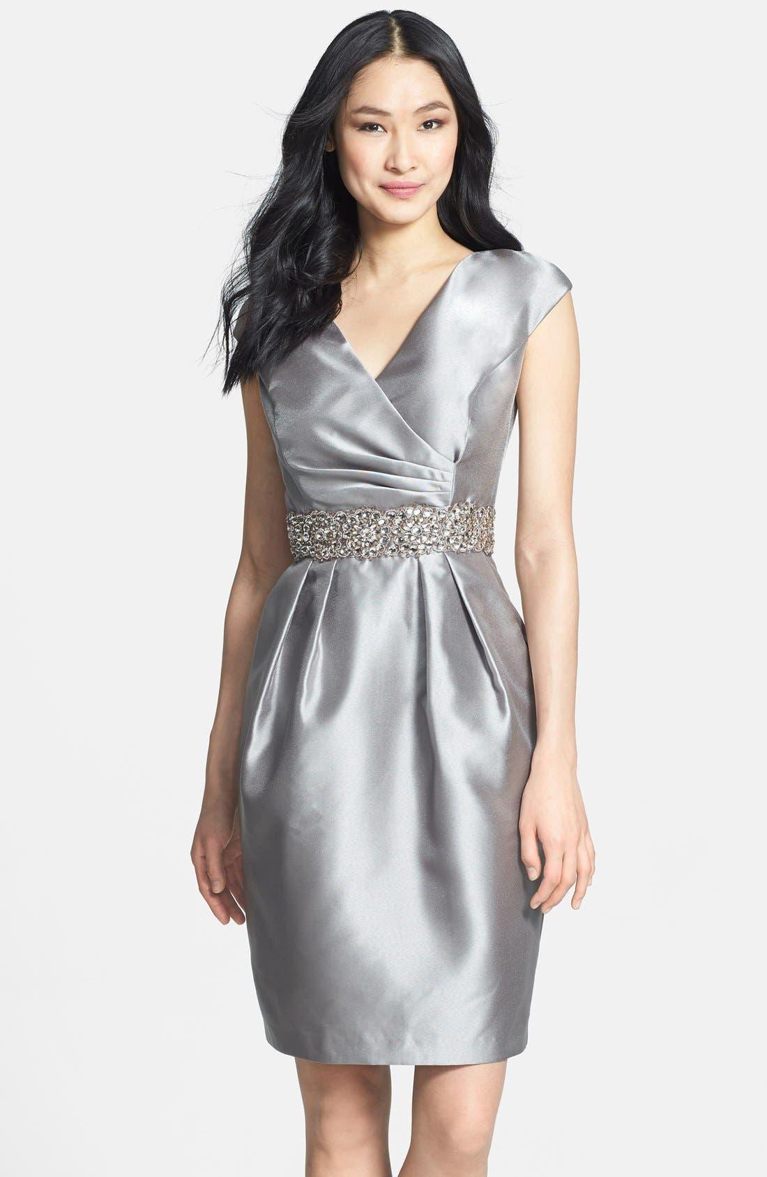 Main Image - Alex Evenings Embellished Waist Taffeta Sheath Dress
