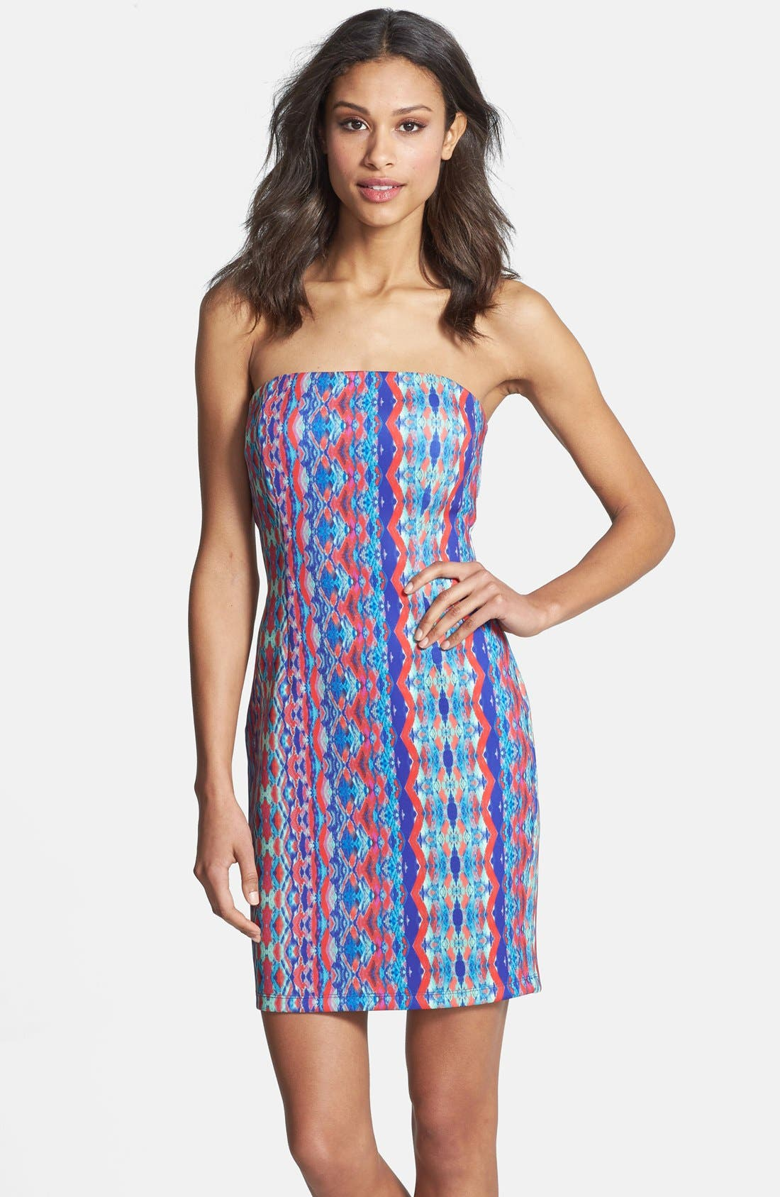 'Athea' Strapless Print Dress,                         Main,                         color, Pink/ Blue