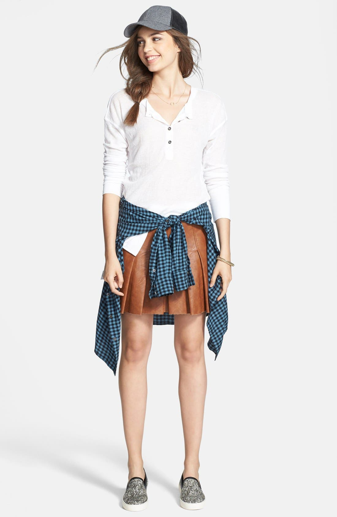 Alternate Image 4  - ASTR Faux Leather Pleat Front Skirt