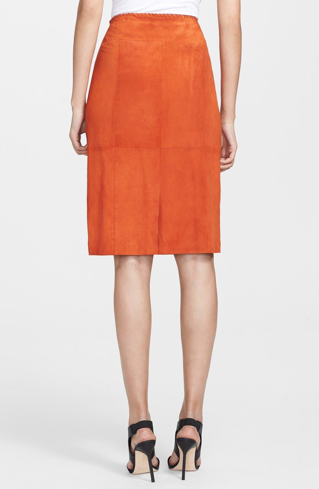 Alternate Image 2  - Tamara Mellon Fringe Detail Suede Pencil Skirt