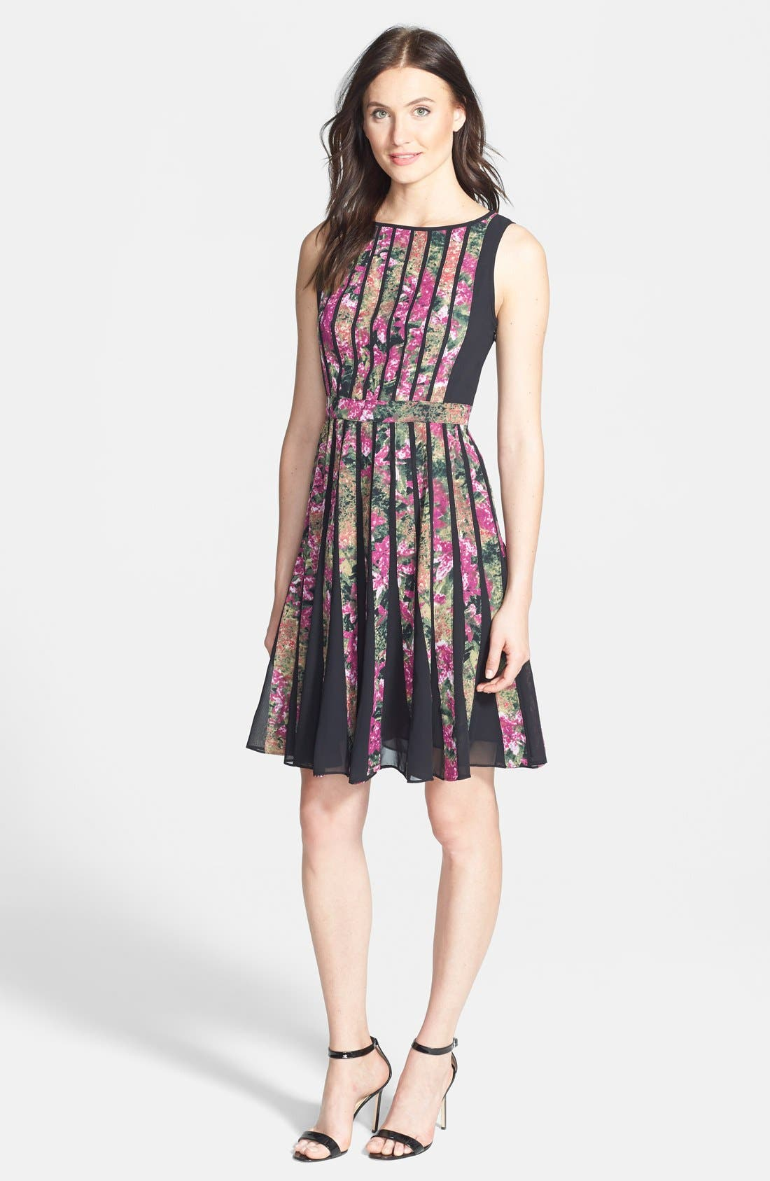 Alternate Image 3  - Adrianna Papell Spliced Floral Print Fit & Flare Dress