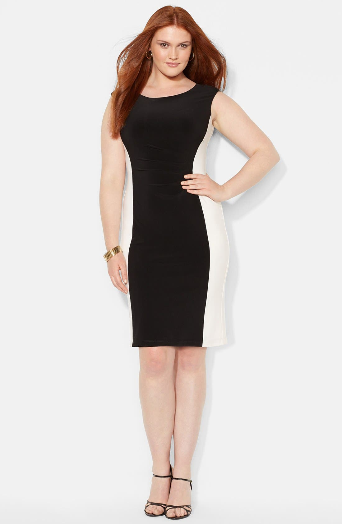 Main Image - Lauren Ralph Lauren Colorblock Matte Jersey Dress (Plus Size)