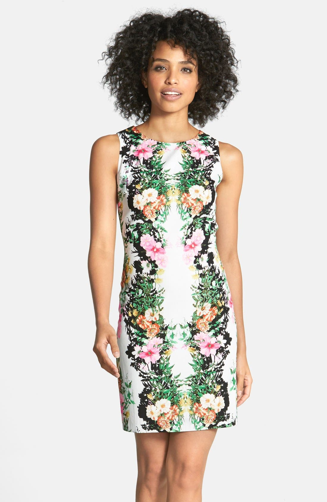 Alternate Image 1 Selected - Maia Lace Back Floral Print Crepe de Chine Sheath Dress