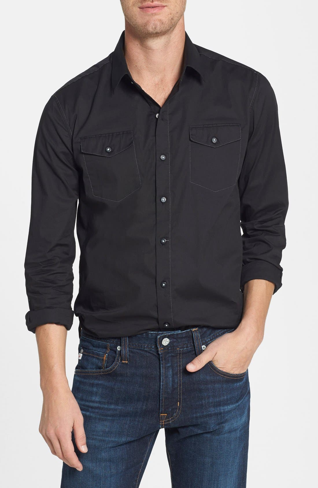Main Image - 7 Diamonds 'All American' Trim Fit Cotton Blend Sport Shirt