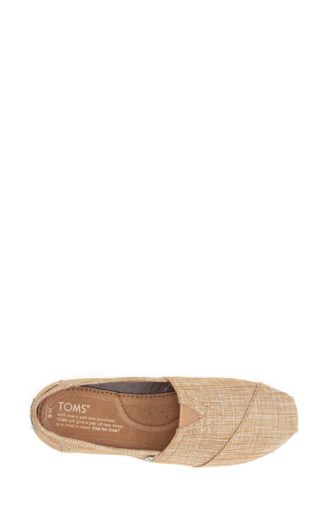 Alternate Image 3  - TOMS 'Classic' Metallic Burlap Slip-On (Women)