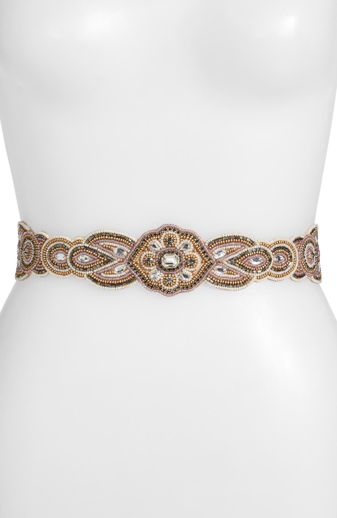 Main Image - Glint 'Aeolian' Beaded Stretch Belt
