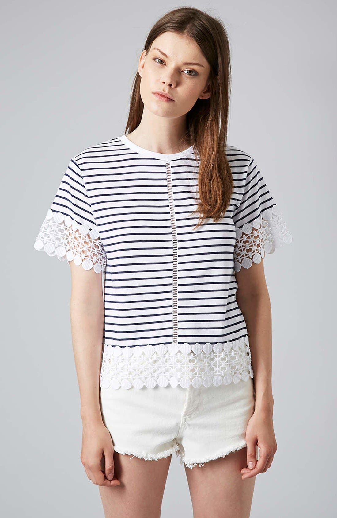 Main Image - Topshop Lace Panel Tee