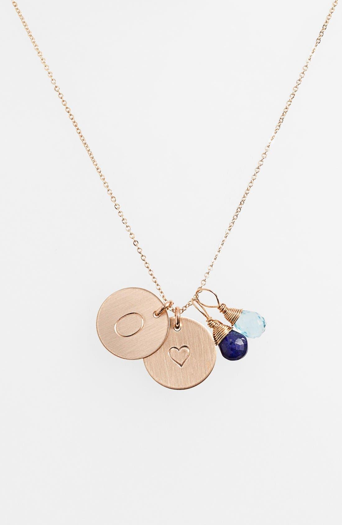 Blue Quartz Initial & Heart 14k-Gold Fill Disc Necklace,                         Main,                         color, Royal Blue And Ocean Blue O
