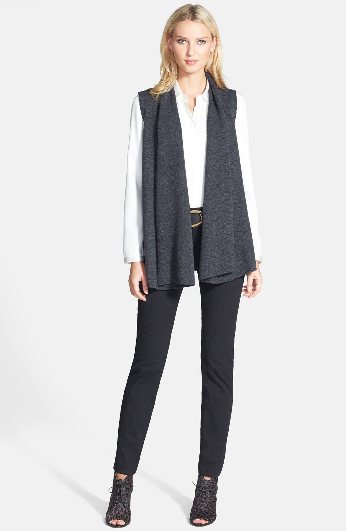 Alternate Image 4  - Lafayette 148 New York Leather Back Merino & Cashmere Vest (Plus Size)