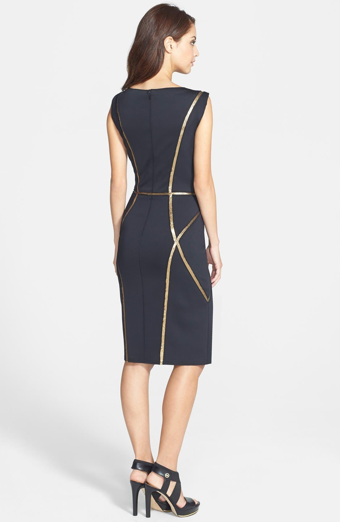 Alternate Image 2  - Tadashi Shoji Sequin Trim Neoprene Sheath Dress