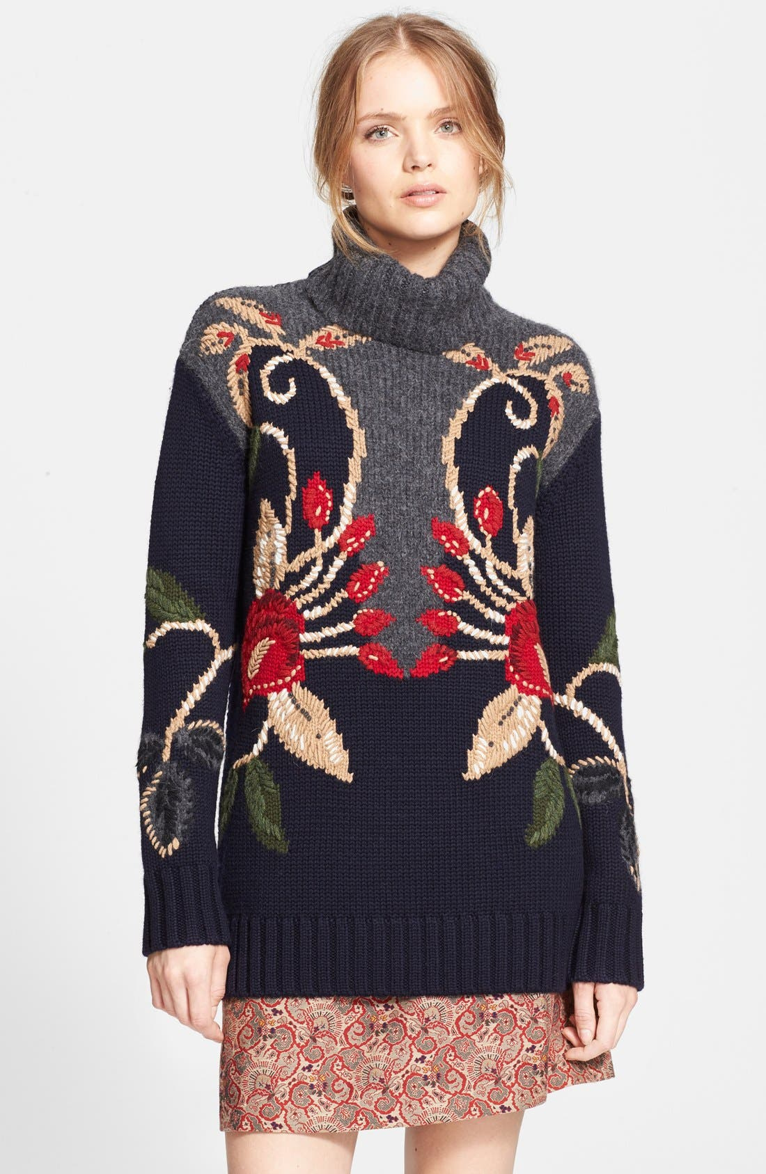 Alternate Image 1 Selected - Tory Burch 'Rianna' Oversize Turtleneck Sweater