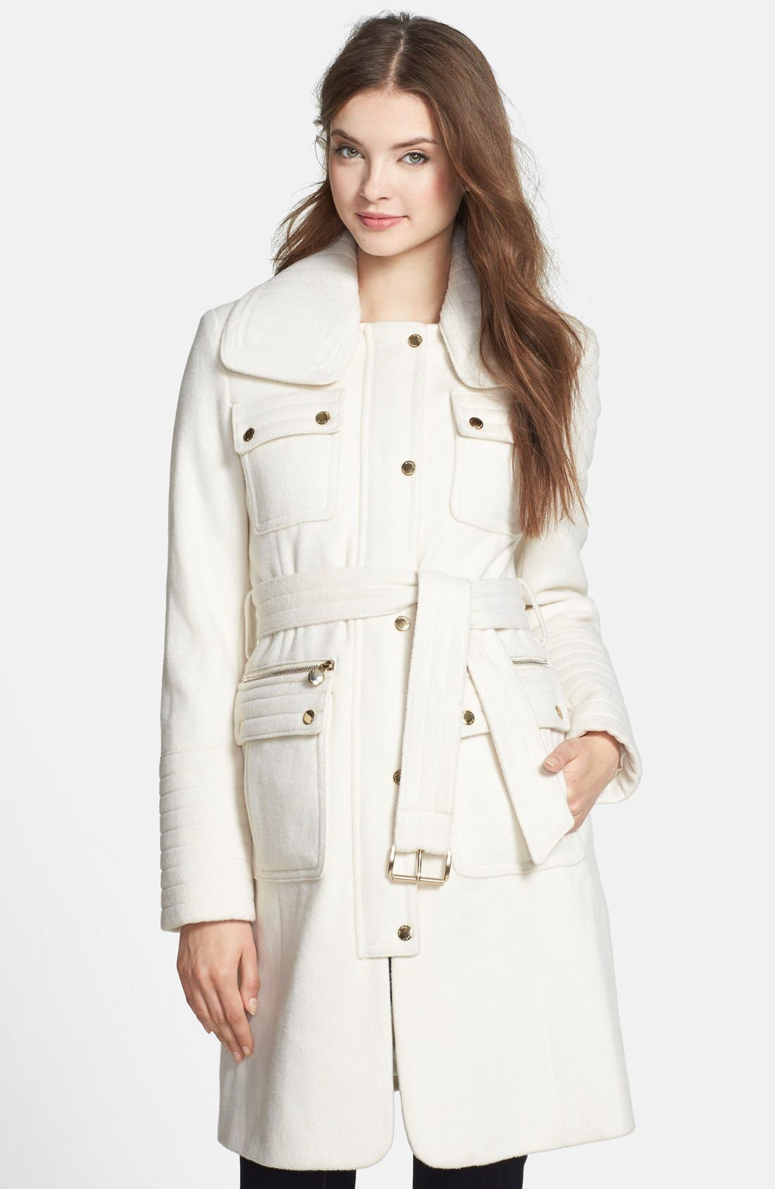 Alternate Image 1 Selected - Laundry by Shelli Segal Belted Wool Blend Trench Coat (Regular & Petite)
