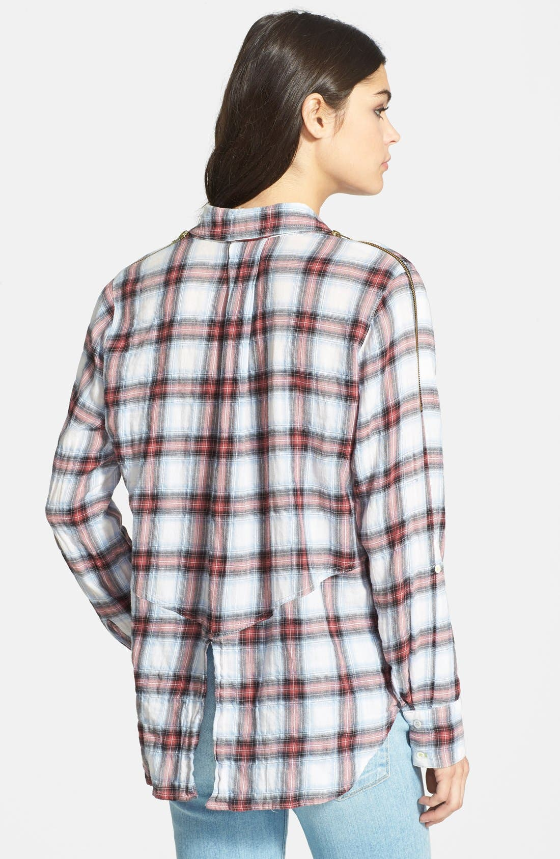 Alternate Image 2  - Sam Edelman Zip Shoulder Plaid Shirt