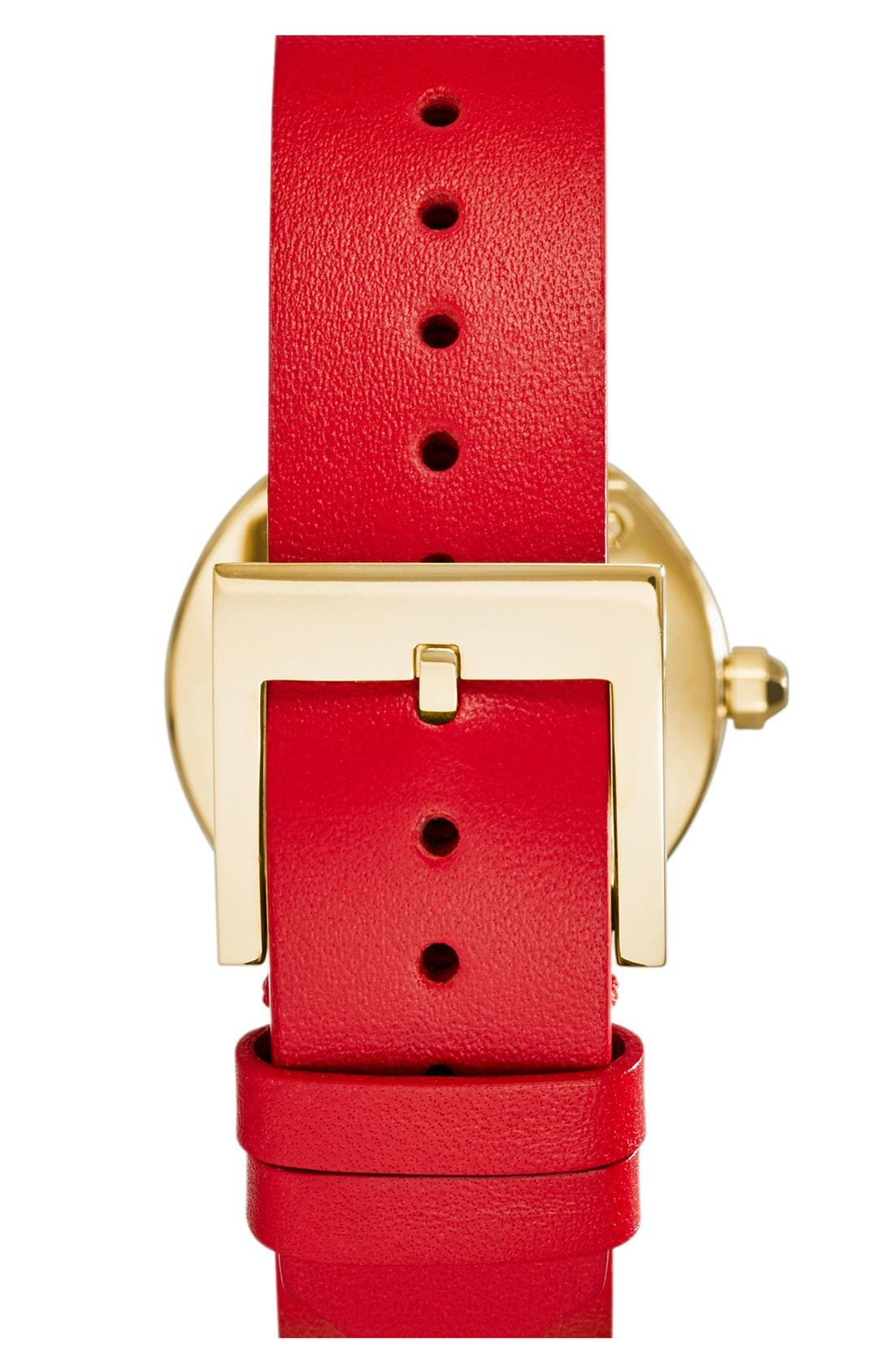 Alternate Image 2  - Tory Burch 'Reva' Logo Dial Leather Strap Watch, 28mm