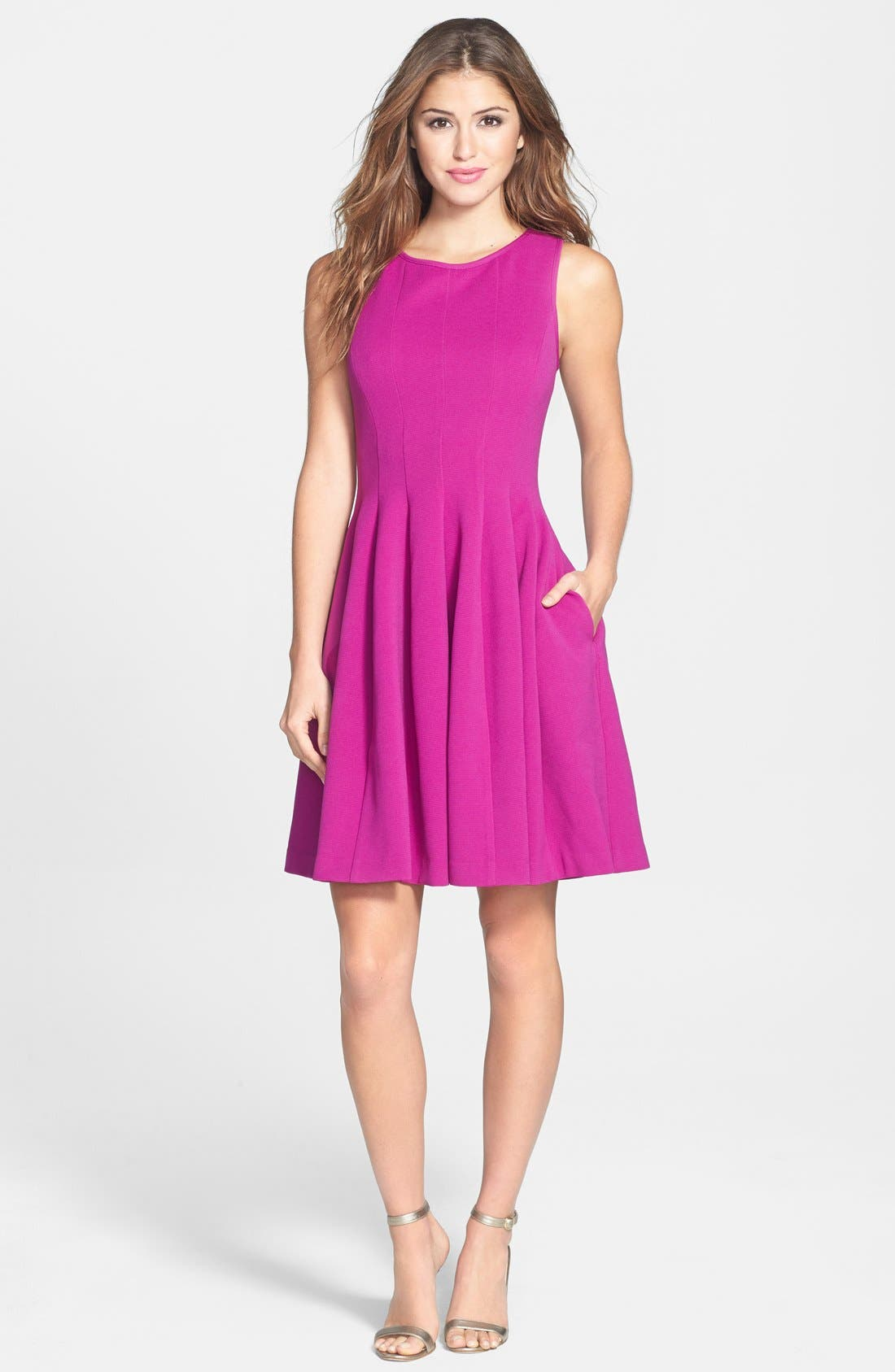 Textured Fit & Flare Dress,                             Alternate thumbnail 3, color,                             Light Purple