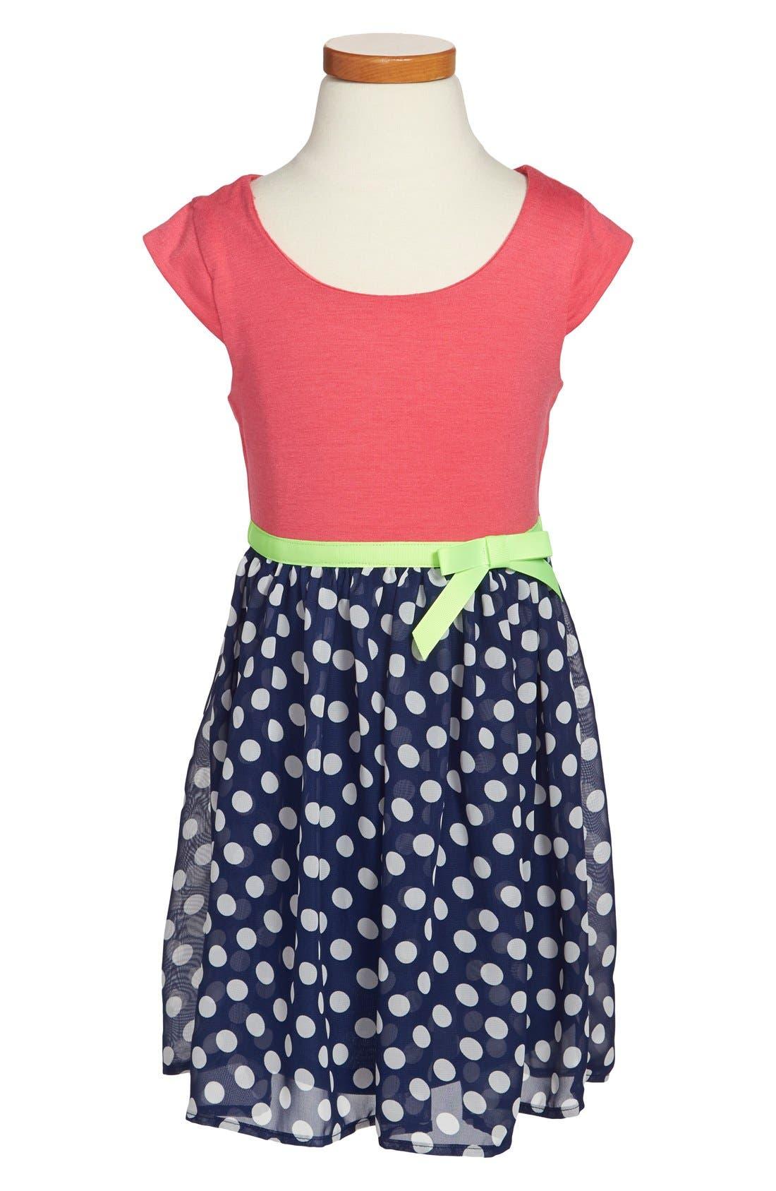 Main Image - Zunie Cap Sleeve Floral Print Dress (Toddler Girls, Little Girls & Big Girls)
