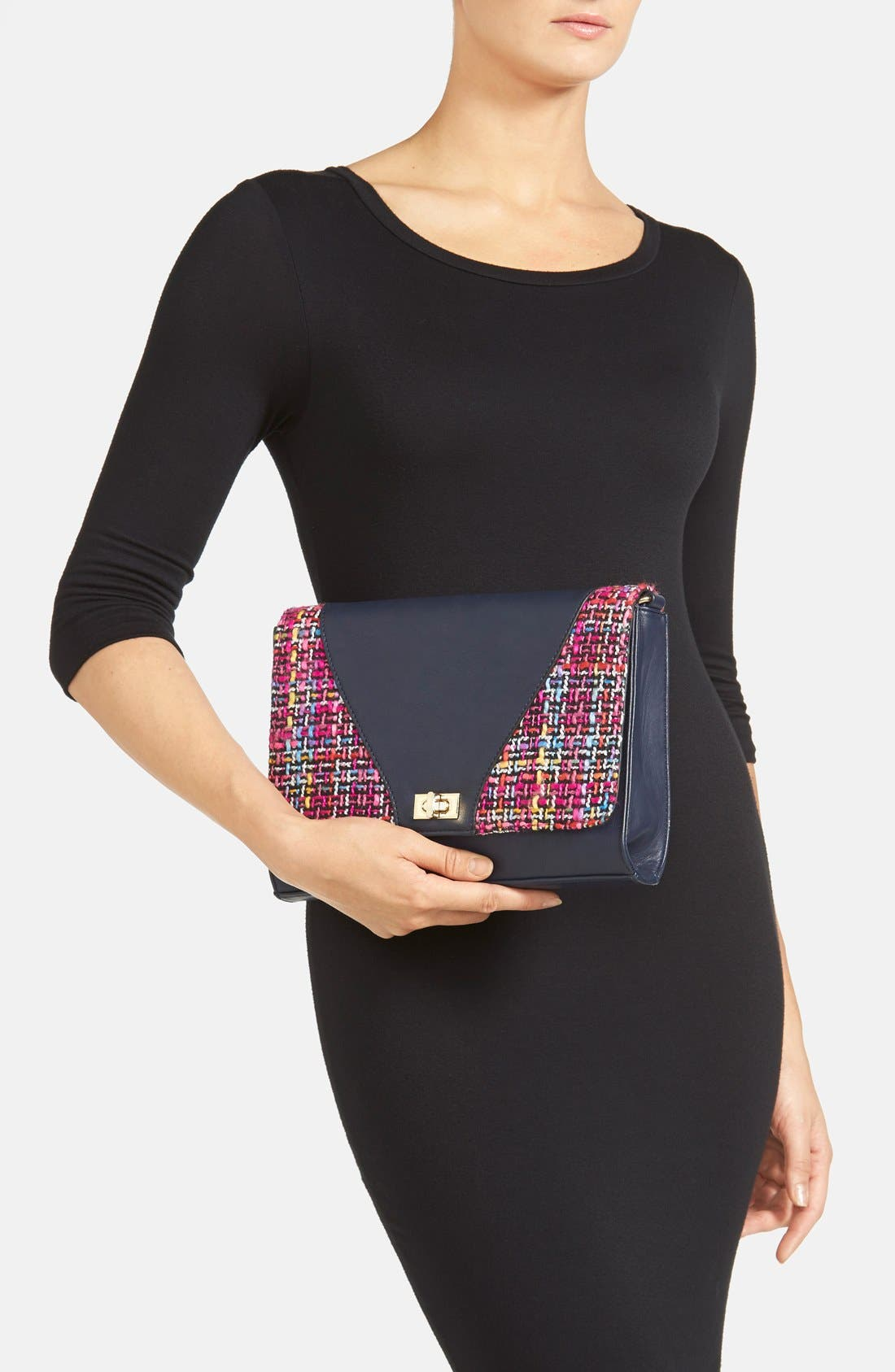 'Agnes' Clutch,                             Alternate thumbnail 2, color,                             Navy