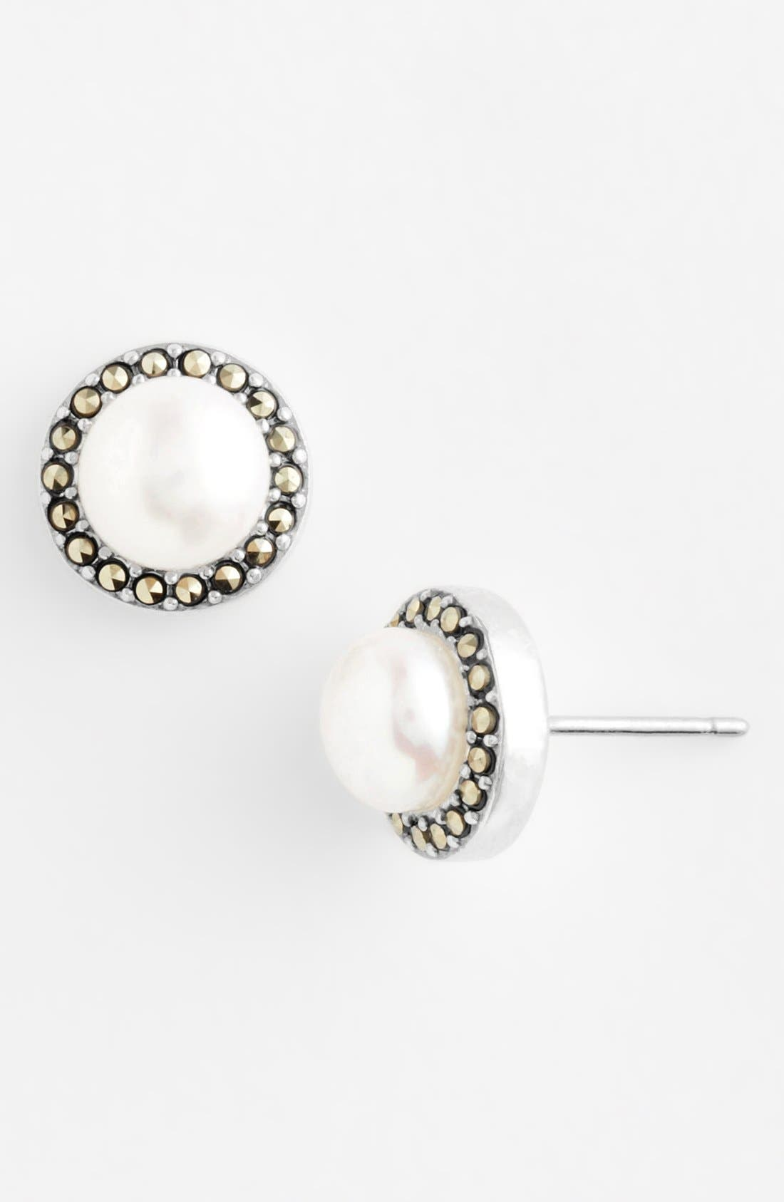 Freshwater Pearl Stud Earrings,                             Main thumbnail 1, color,                             Sterling Silver