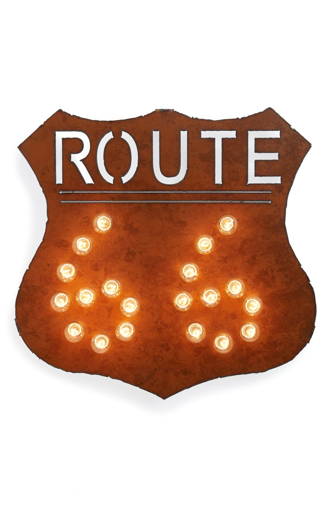 Main Image - Universal Ironworks 'Marquee Lights - Route 66' Recycled Metal Sign