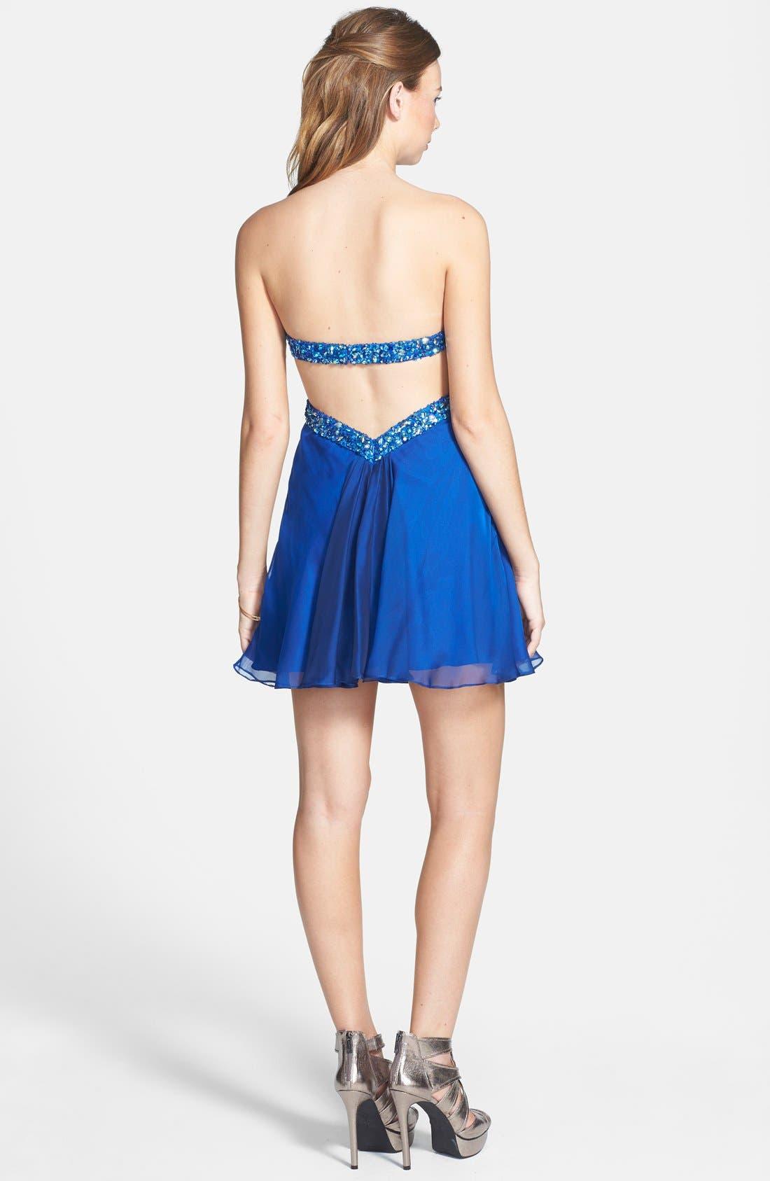Alternate Image 2  - La Femme Embellished Cutout Chiffon Fit & Flare Dress