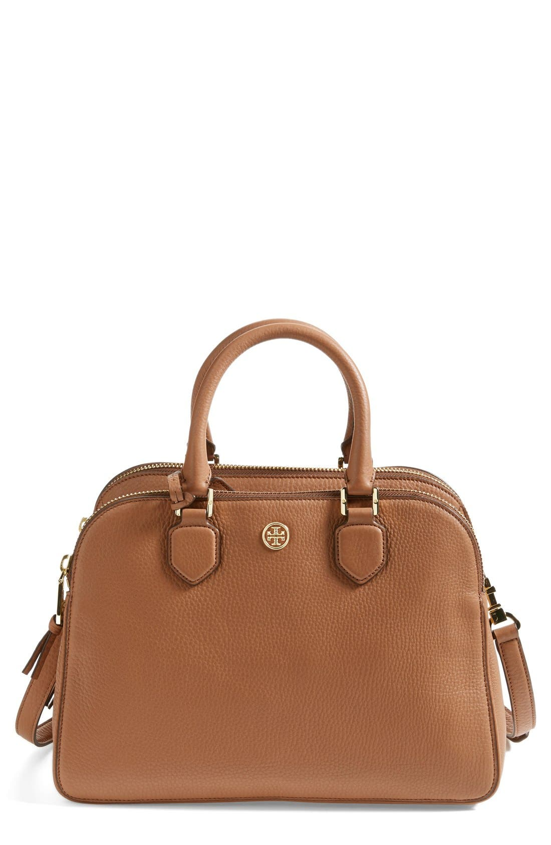 Alternate Image 1 Selected - Tory Burch 'Robinson' Triple Zip Leather Satchel