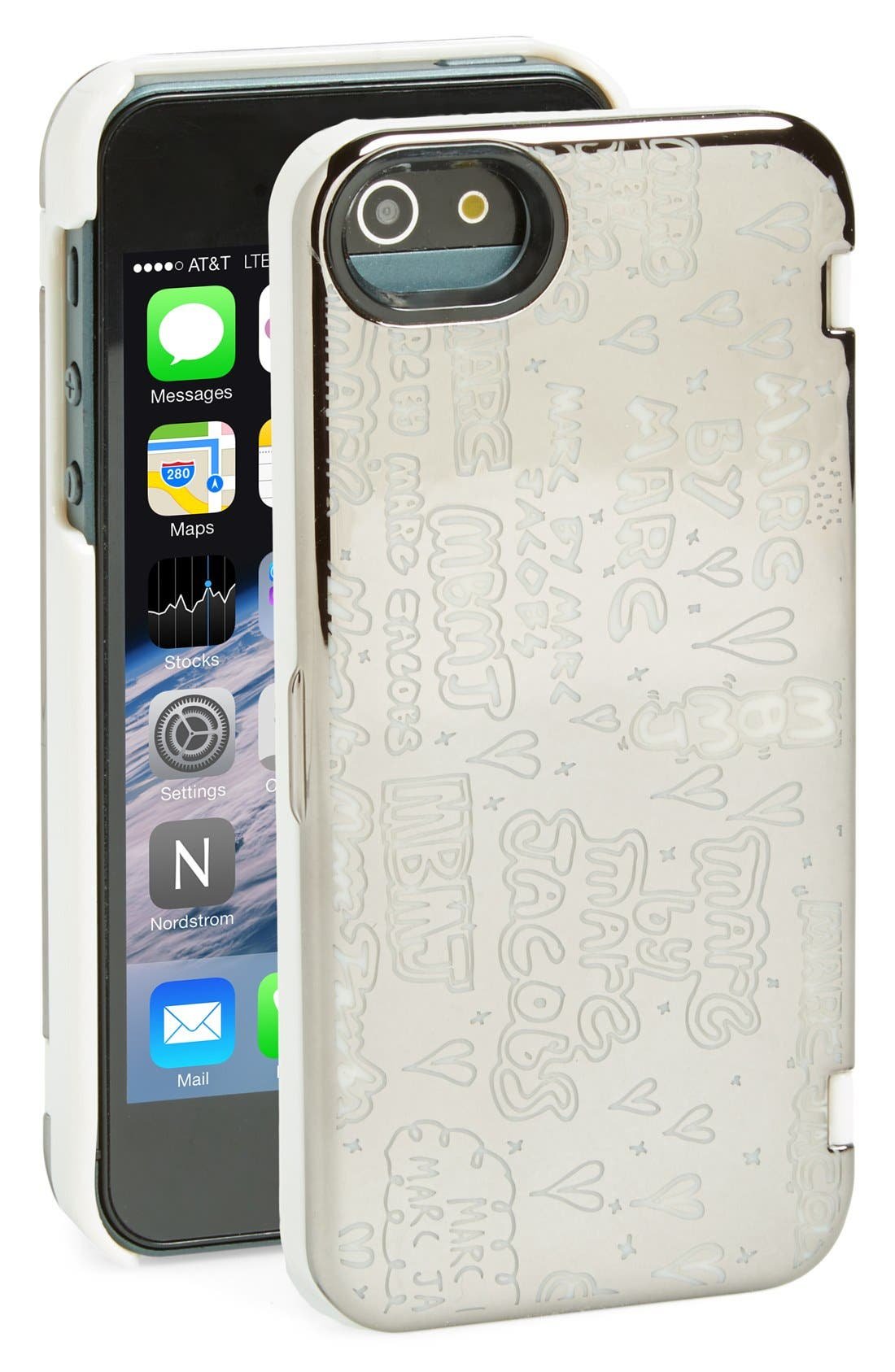 MARC BY MARC JACOBS 'Scribble' Mirror iPhone 5 & 5s Case,                         Main,                         color, Gunmetal Multi