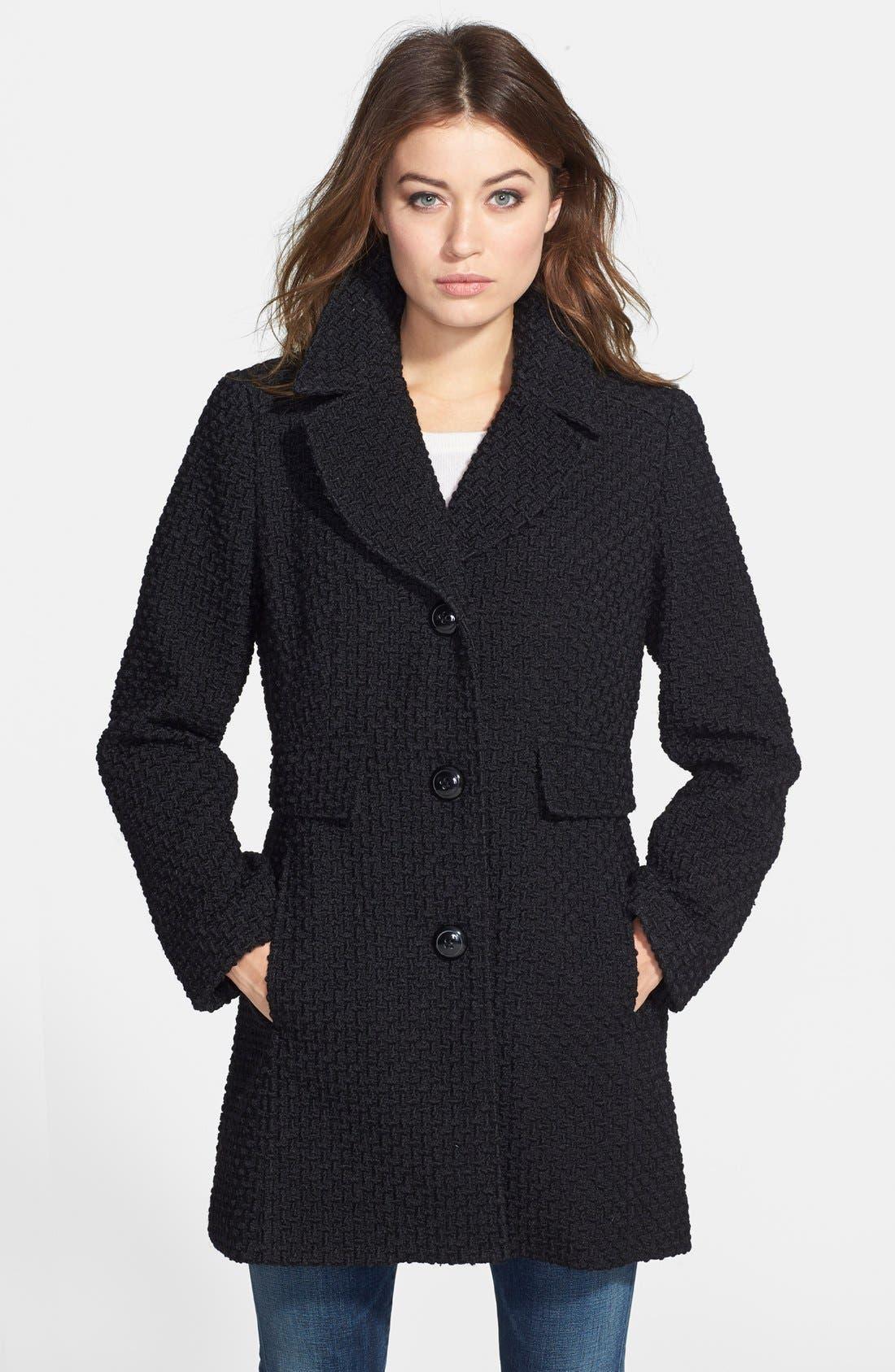 Basket Weave Coat,                         Main,                         color, Black