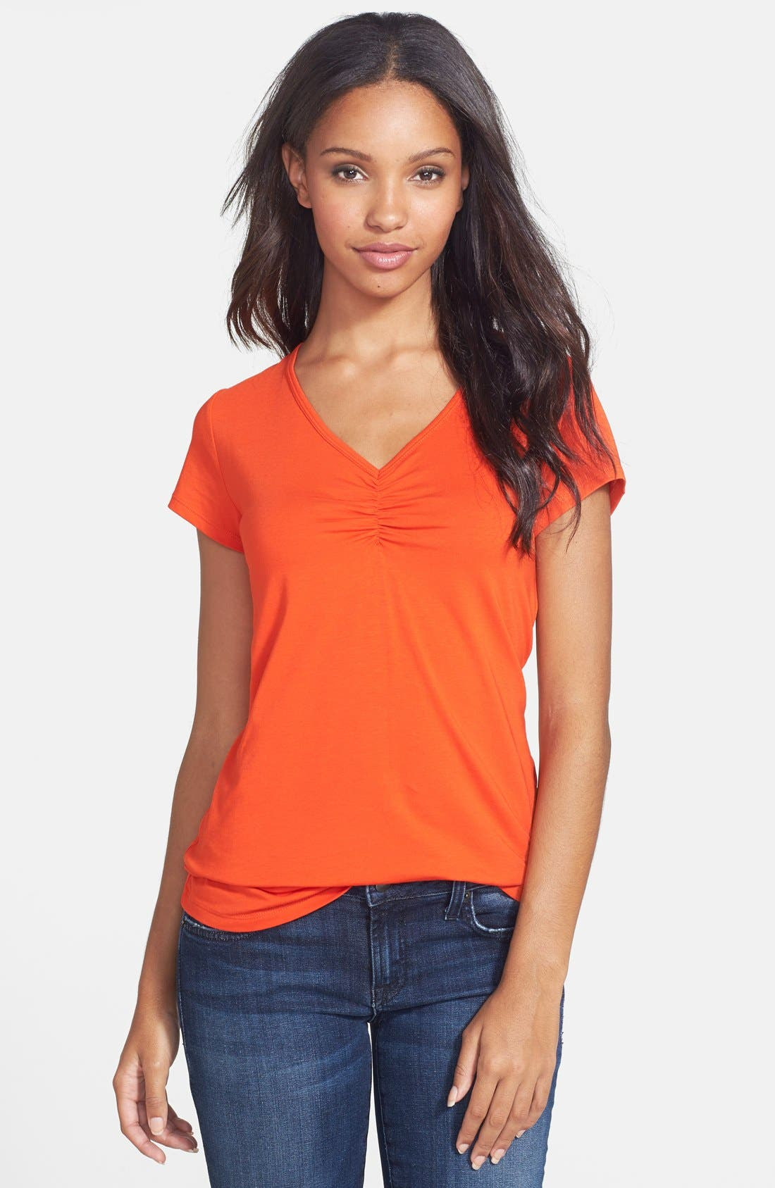 Alternate Image 1 Selected - Two by Vince Camuto Ruched Front V-Neck Tee