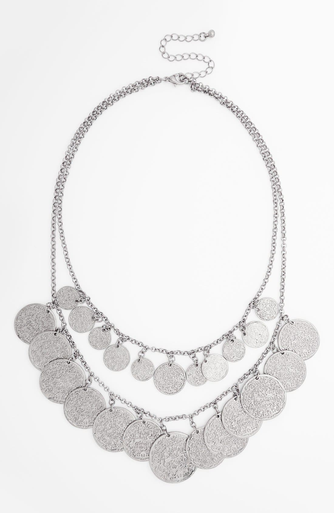 Alternate Image 1 Selected - BP. Double Coin Row Statement Necklace (Juniors)