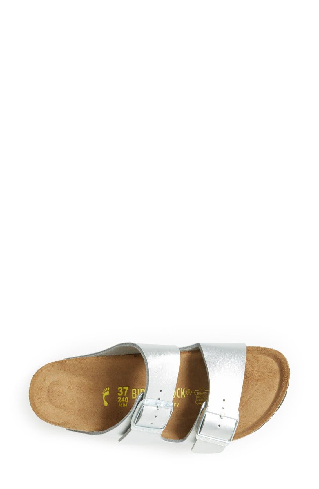 'Arizona Birko-Flor' Soft Footbed Sandal,                             Alternate thumbnail 3, color,                             Silver