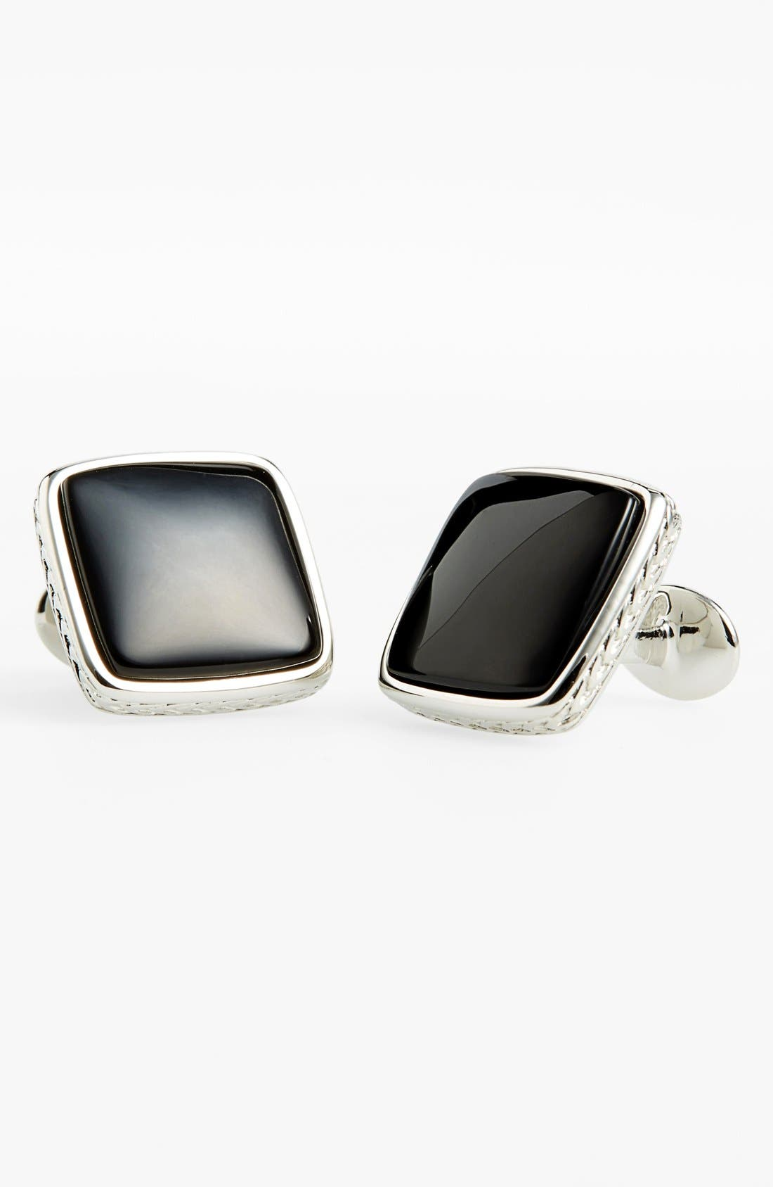 Onyx Cuff Links,                             Main thumbnail 1, color,                             Sterling Silver/ Onyx