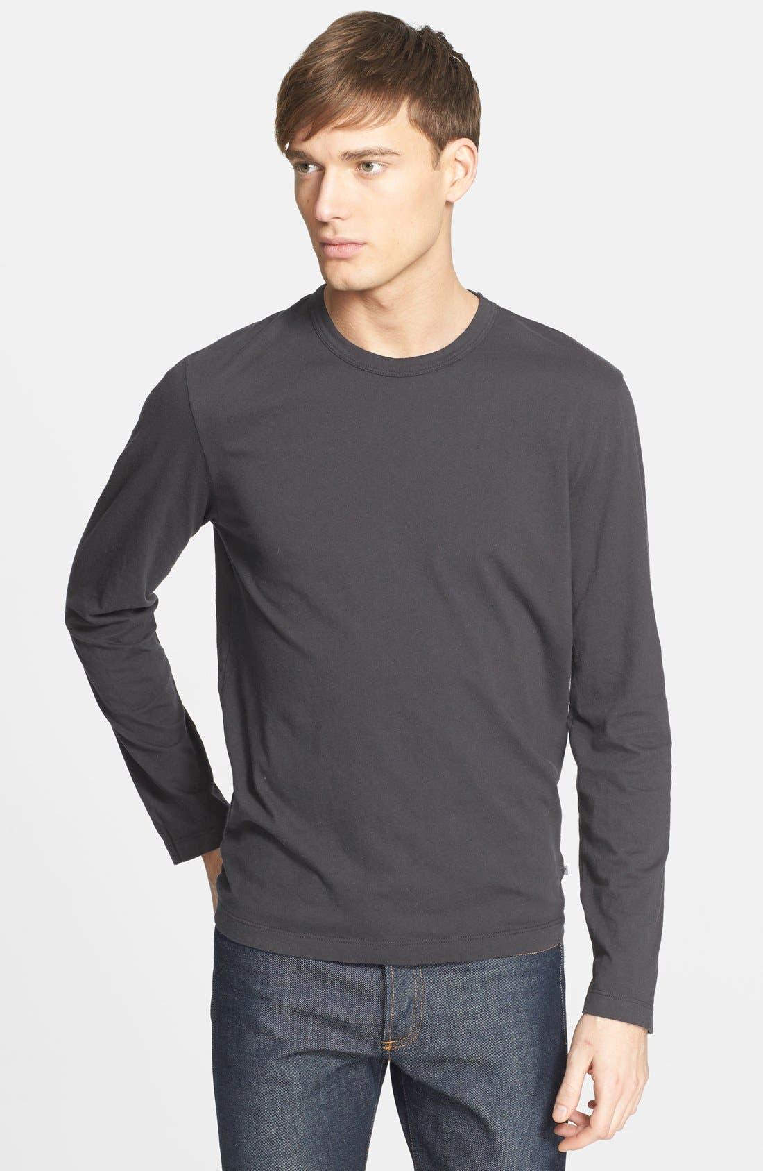 Long Sleeve Crewneck T-Shirt,                         Main,                         color, Carbon Pig