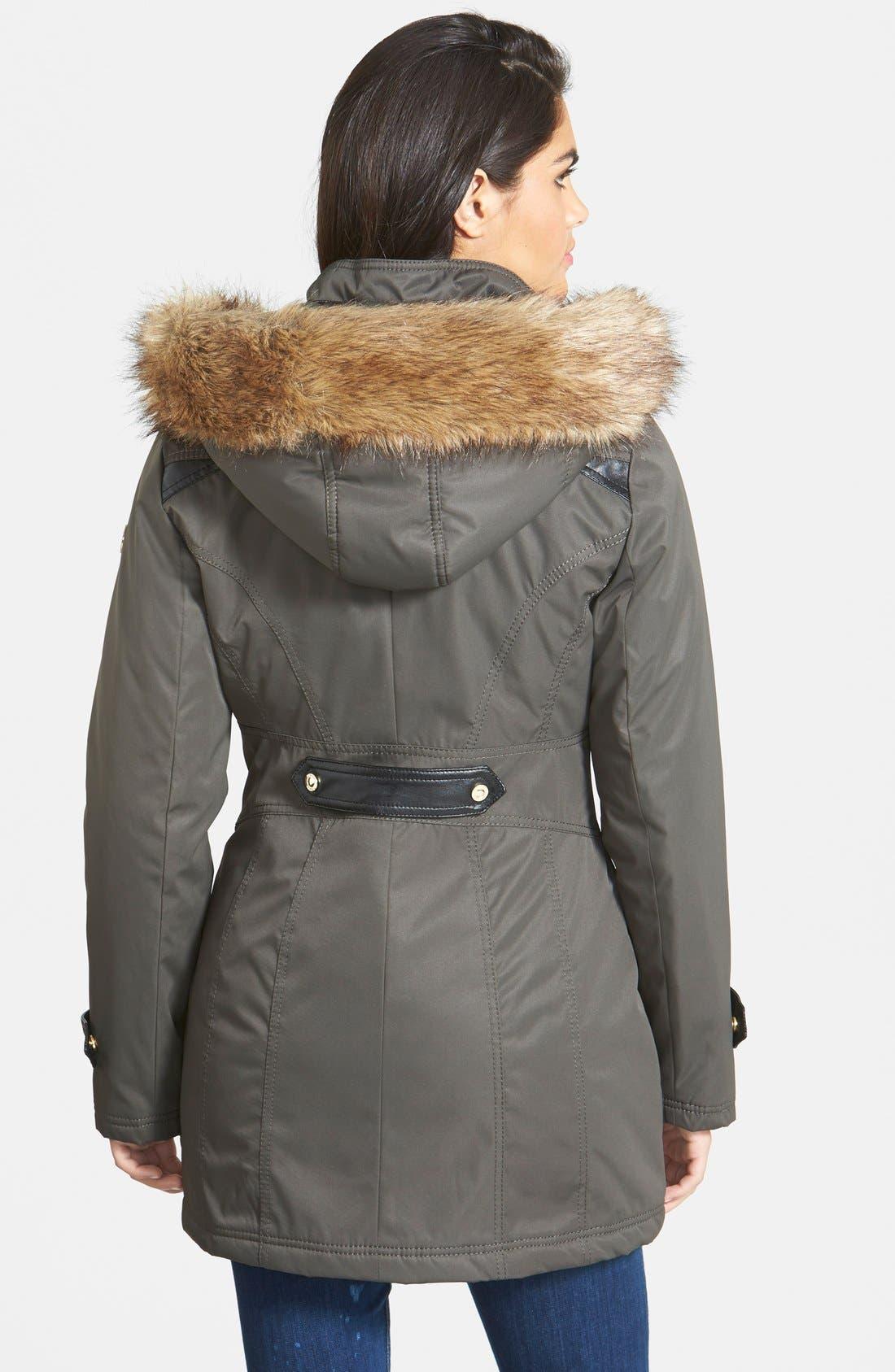Alternate Image 2  - kensie Faux Fur Trim Hooded Anorak (Online Only)