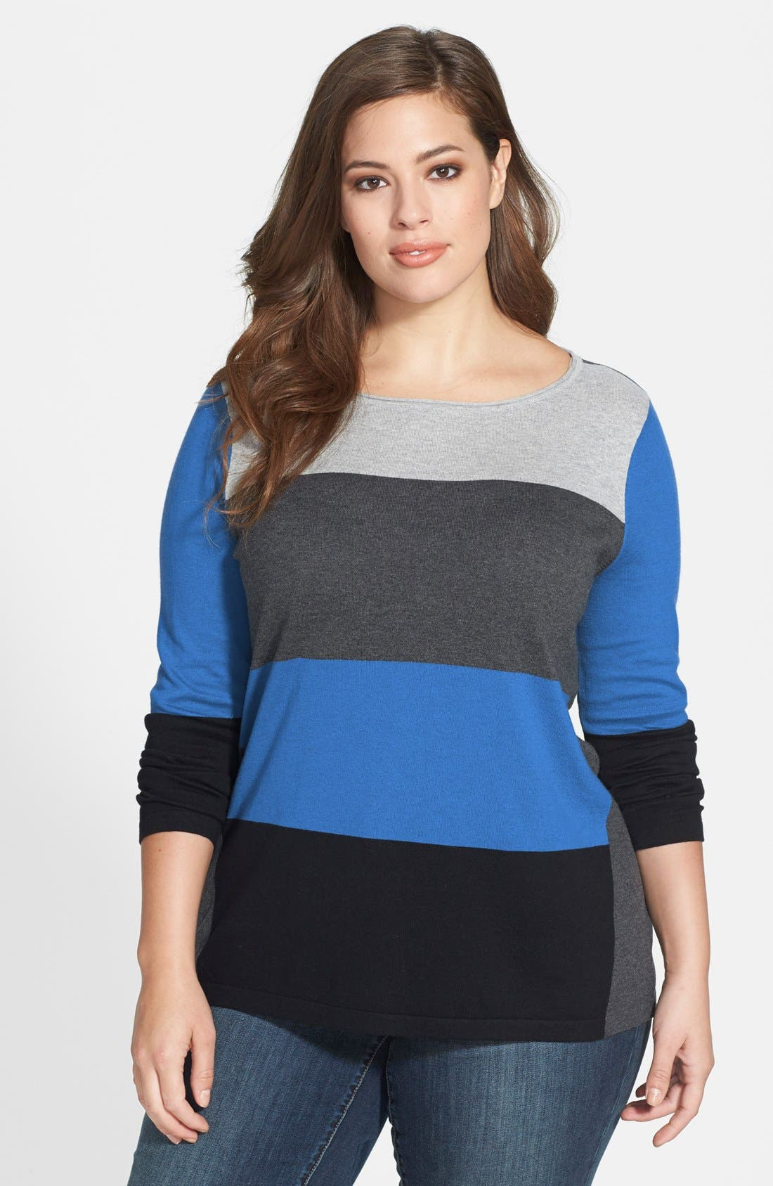 Main Image - Vince Camuto Colorblock Boatneck Sweater (Plus Size)
