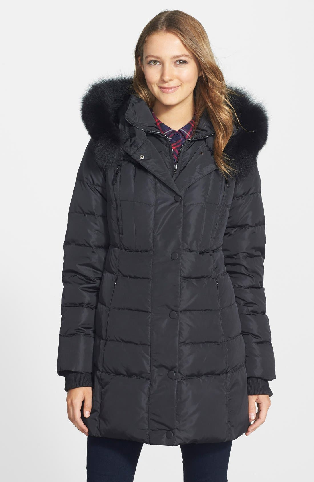 Main Image - 1 Madison Genuine Fox Fur Trim Down Coat (Online Only)