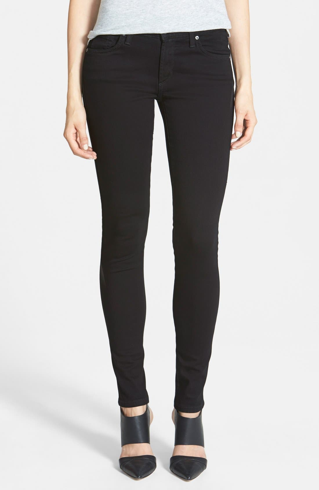 Alternate Image 1 Selected - James Jeans 'Twiggy' Five Pocket Leggings (Black Clean)