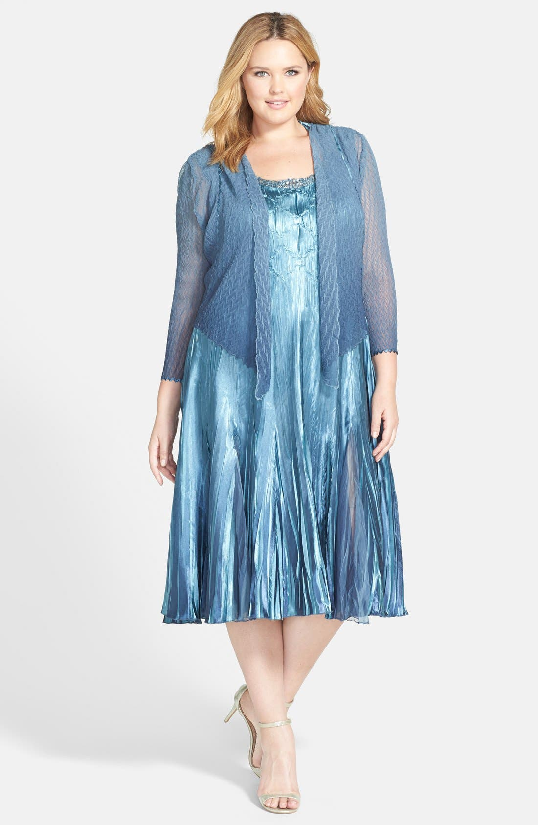 Embellished Charmeuse & Chiffon Dress with Jacket,                             Main thumbnail 1, color,                             Silver/ Blue Ombre