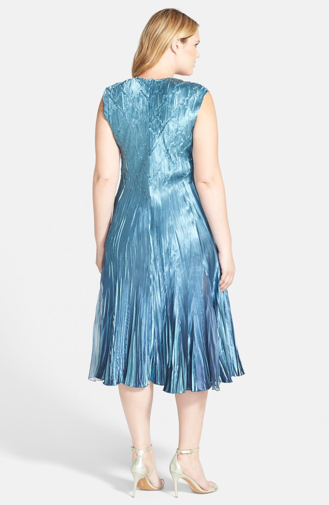 Embellished Charmeuse & Chiffon Dress with Jacket,                             Alternate thumbnail 2, color,                             Silver/ Blue Ombre